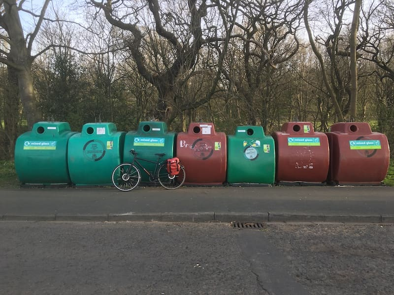 Glass recycling bins at Roundhay Park