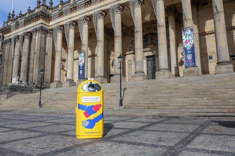 Photo of Gordon Binnit – our friendly burping recycling bin – outside Leeds Town Hall